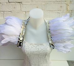 Angelic feather and sequin wings made from goose feathers. FESTIVALS, CARNIVALS and alternative WEDDING wear. Burning man, coachella, wings by feathersandthreaduk on Etsy
