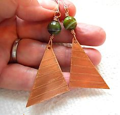 Copper Triangle Earrings Faceted Sardonyx and Copper by JoJosgems