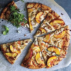 Peach and Gorgonzola Chicken Pizza.