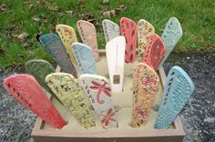 I create garden marker / herb marker in 3 sizes Made of stoneware clay (a very hard clay ) Fired in electric kiln on a high temperature then glazed