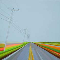 Napeague Meadow Road by Grant Haffner, 2013, Acrylic, pencil, marker, paint-pen on wood panel; 12 x 12 inches   Sebastian Foster Paintings and Prints
