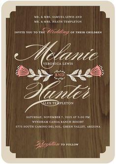 Wood grain + florals invitation