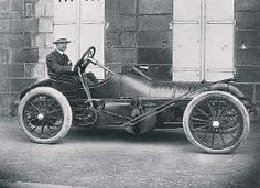 Charles Rolls in his Wolseley Beetle racing car, early 1900s
