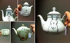 tea pots and cups - bodesigns Cute Crafts, Diy And Crafts, Custom Plates, Tea For One, Sharpie, Paper Goods, Tea Pots, Crafty, Tableware