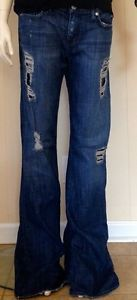 RARE Ripped Bootcut Rock & Republic Roth Jeans with Black Lace Inlay - Size 32