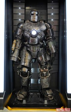 Iron Man Mark 1 armor in the Hall of Armor at SDCC