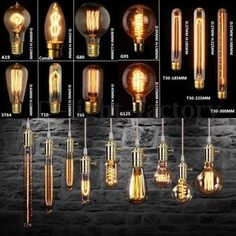 Vintage Retro Industrial Edison Lamps Filament Lights Bulbs… - All For Decoration Vintage Industrial Lighting, Antique Lighting, Industrial Lamps, Edison Lighting, Cool Lighting, Edison Lampe, Edison Bulbs, Lampe Retro, Bulbs For Sale