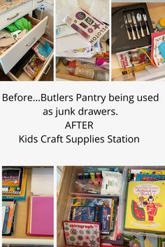 Client did not need Butlers Pantry for extra entertaining and kitchen stuff. All the drawers and cabinets were a catch all for misc. clutter. We converted it to a Kids Craft Area which is very accessible and easy to maintain. #kidscrafts #kidscraftroom #kidsactivities #kids #craftstorage #craftsforkids