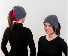 Charcoal and Hot Pink Ponytail Hat - Order today by visiting: http://www.doohat.com