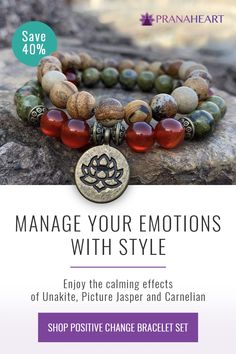 "Free yourself from your emotional blockages and live in the moment with positivity and courage, wearing this ""Positive Change"" Bracelet Set. Cute Jewelry, Boho Jewelry, Beaded Jewelry, Jewelery, Jewelry Bracelets, Necklaces, Bead Crafts, Jewelry Crafts, Crystal Healing Stones"