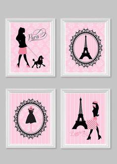 Bedroom Decor Paris pink and black paris themed wall decor, pink parisian bedroom