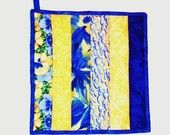 Quilted Potholder / Hot Pad -- Cobalt Blue and Yellow