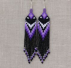Native American Earrings Inspired. White Purple Black Earrings. Dangle Long Earrings. Beadwork