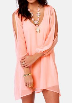 Love Love LOVE this Color! Coral Pink Plain Hollow-out Split Sleeve Chiffon Dress #Coral #Pink #Sheer #Chiffon #Dress #Fashion