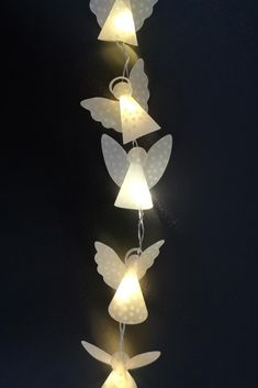 Mini angels made of transparent paper with white dots, 3 cm high, suitable for LED fairy lights (guardian angel & Christmas angel) Christmas Door Wreaths, Christmas Angels, Christmas Crafts, Christmas Decorations, Xmas, Diy Crafts To Do, Paper Crafts, Paper Angel, Light Chain