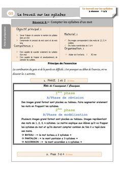 Fiches de préparation sur les syllabes Grande Section, Group Work, School, Conscience, Bass, Simple Words, Schools