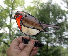 Robin a teinté verre Suncatcher Bird rouge-gorge par BerlinGlass