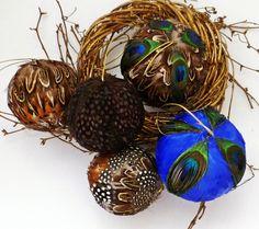 5 Peacock Feather Balls Fall Thanksgiving Christmas Halloween Tree Ornaments Lodge Decoration. $11.95, via Etsy.