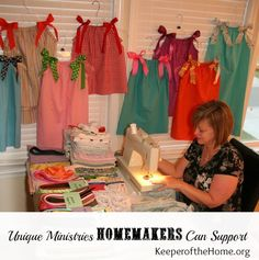 Great idea for Girls Ministry.Unique Ministries Homemakers Can Support. I like the idea of sewing simple dresses for impoverished girls - remember that when my girls are learning to sew. Sewing Crafts, Sewing Projects, Service Projects, Service Ideas, Mission Projects, Operation Christmas Child, Christian Homemaking, Learn To Sew, Creative Gifts