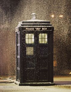 The Tardis in snow.
