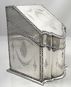 English antique silver stationery box circa 1905 by Elkington and Company