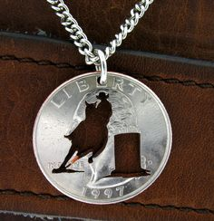 Barrel Racer Quarter hand cut coin by NameCoins on Etsy, $29.99