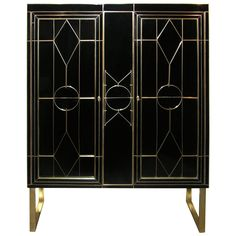Italian Art Deco Style Black Glass Cabinet/Bar with Bronze Highlights | From a unique collection of antique and modern cabinets at https://www.1stdibs.com/furniture/storage-case-pieces/cabinets/