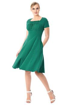 827366750 Ruched bodice polka dot cotton knit dress  eShakti Vestidos De Fiesta Para  Mujeres