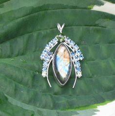 Labradorite Blue Topaz and Peridot Pendant by Crystalsidyll