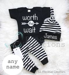 Worth the Wait Outfit Coming Home Baby Boy Outfit Newborn Boy Clothes Black Stripes Baby Boy Leggings Hat Baby Shower Gift by LLPreciousCreations on Etsy https://www.etsy.com/listing/551391633/worth-the-wait-outfit-coming-home-baby