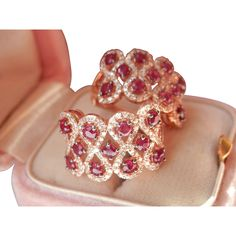 Beautiful 14K Rose Gold Ruby Diamond Earrings Ruby Jewelry, Gemstone Jewelry, Fine Jewelry, Jewellery, Vintage Earrings, Diamond Earrings, Vintage Diamond, Ruby Lane, Ruby Red