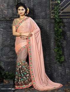 SIZZLING DUSTY #PINK BROWN LYCRA JACQUARD #SAREE WITH #BROWN #DUPION AND #GEORGETTE #BLOUSE
