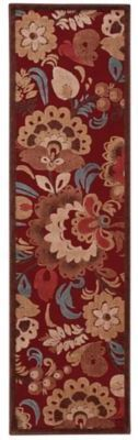 Nourison Gil Oversized Floral 2-Foot 3-Inch x 8-Foot Runner in Red