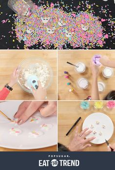 You'll Want to Decorate Everything With These DIY Unicorn Sprinkles - Cake Decorating Cupcake Ideen Unicorn Sprinkles, Sugar Sprinkles, Frosting Techniques, Frosting Tips, Diy Unicorn, Unicorn Party, Star Wars Party, Cake Decorating Tips, Cookie Decorating