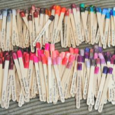 Nail polish organizing...Use matches and label them!! #Swatches uhh maybe not the matches, Popsicle sticks instead?