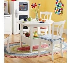 I love this! I have my kitchen set from when I was a kid (hand built wood set) and can spruce it up with matching table and chairs!!!