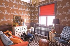 Adorable boy's room. maisonjansenrocker #boysroom #scalamandre #wallpaper