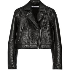 T by Alexander Wang Bonded textured-leather biker jacket (€525) ❤ liked on Polyvore featuring outerwear, jackets, coats, leather jacket, black, black zip jacket, cropped biker jacket, zipper jacket, moto zip jacket and black motorcycle jacket