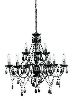"The Original Gypsy Color Extra Large 9 Light Black Chandelier H27"" W27"", Black Metal Frame with Black Acrylic Crystals"