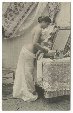 Vintage Hand Tinted Real Photo Postcard French Nude Victorian Boudoir PinUp RPPC