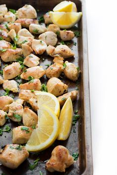 Chicken is marinaded in lemon and garlic then baked in the oven until golden brown. This recipe is ideal for salads, pitas, rice and more.