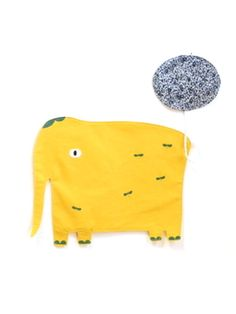 Linen Elephant Placemat - Yellow