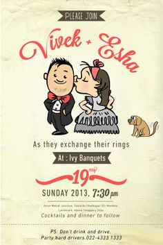 Wedding invitation card template with cute groom and bride cartoon innovative wedding invites stopboris Gallery