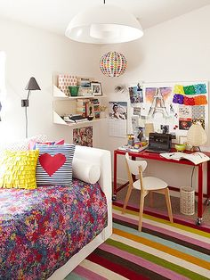 she loves the bed and the pillows and the work space with the modern chair... teen vogue