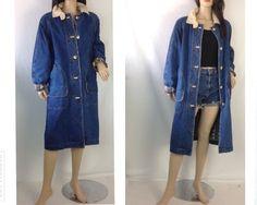 Vinage Denim Coat Flannel Lned Coat Vintage by sixcatsfunVINTAGE