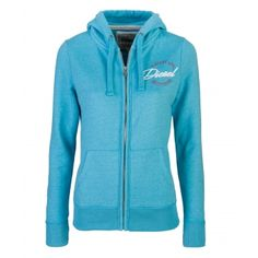 Trudy Maui Blue Melange Price: € 49.00  Ladies Full zip hood  Lined hood with rope pull  Concealed metal zip with logo zip  Raised rubber Diesel logo print  50% cotton 50% polyester   Brushed fleece interior