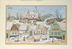 Josef Lada - Zima City Art, Snowmen, Czech Republic, Home Art, Vintage World Maps, Houses, Paintings, Landscape, Retro