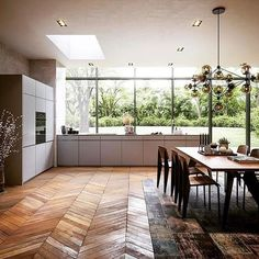 What a space! ・・・ Cooking with a view 🙌🏼 VZUG Combi Steam Oven looks pretty good too. Pretty Good, How To Look Pretty, Parquetry, Swiss Design, Wall Finishes, House Goals, Design Trends, Dining Table, Flooring