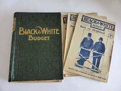 Antique Black & White Budget Magazine News Collection, 20 Books in Binder Recent Events, Frame Display, Bingo Cards, Good Communication, Wedding Place Cards, Black Paper, Kitsch, Binder, Ephemera