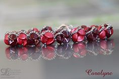 Pink and Red bracelet for romantic gift rubbles by Lilyperles